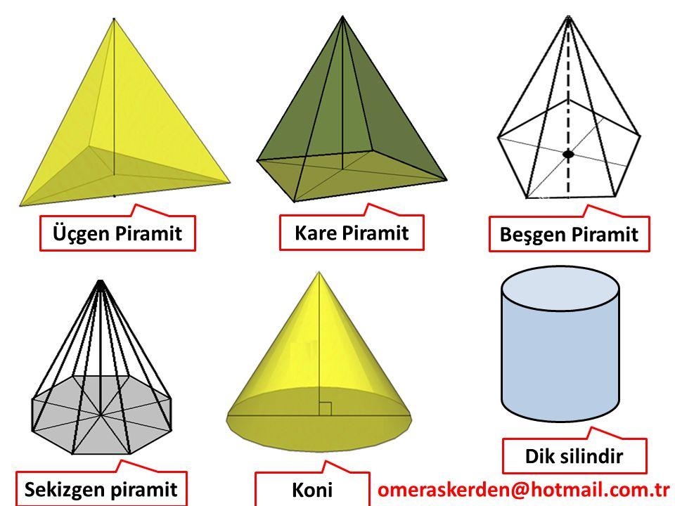 omeraskerden@hotmail.com.tr Sekizgen piramit Koni Dik silindir Kare Piramit Üçgen Piramit Beşgen Piramit