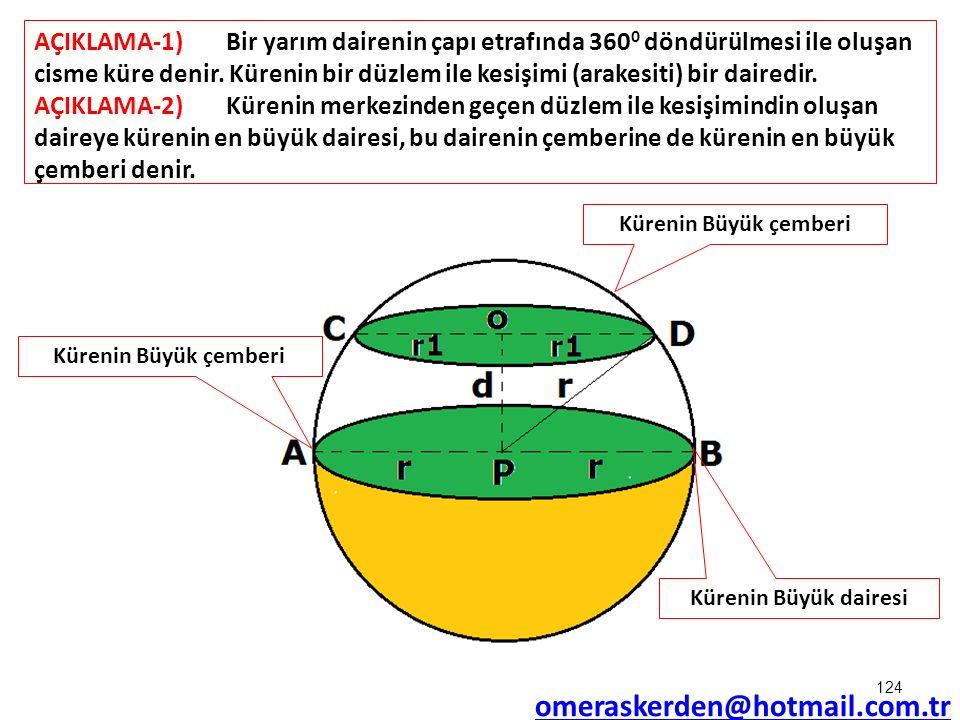 AÇIKLAMA-1)Bir yarım dairenin çapı etrafında 360 0 döndürülmesi ile oluşan cisme küre denir. Kürenin bir düzlem ile kesişimi (arakesiti) bir dairedir.