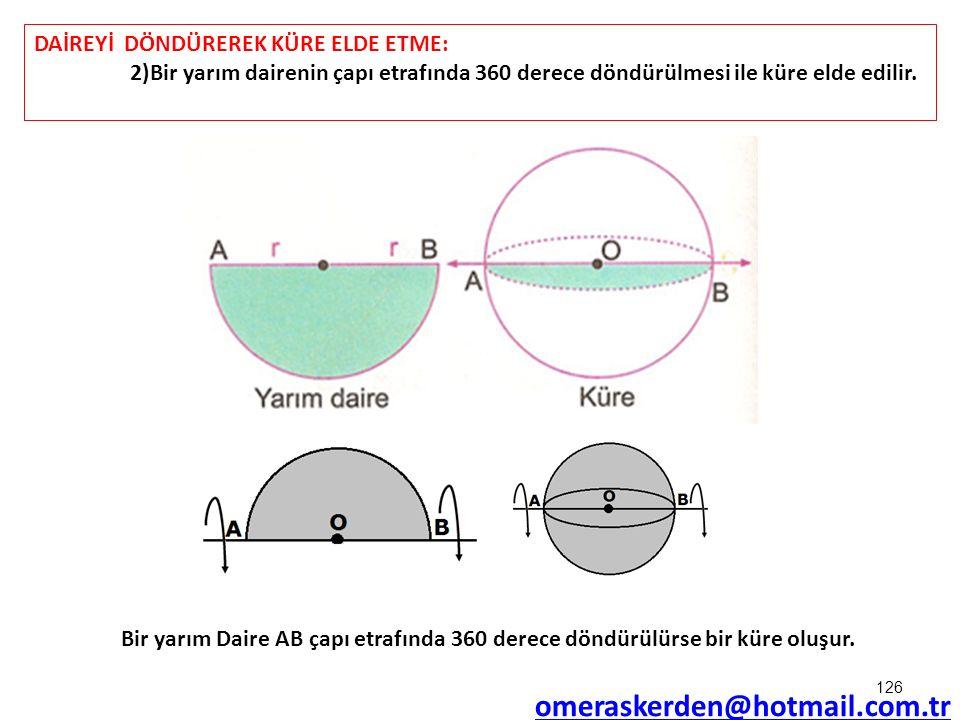 omeraskerden@hotmail.com.tr DAİREYİ DÖNDÜREREK KÜRE ELDE ETME: 2)Bir yarım dairenin çapı etrafında 360 derece döndürülmesi ile küre elde edilir. Bir y