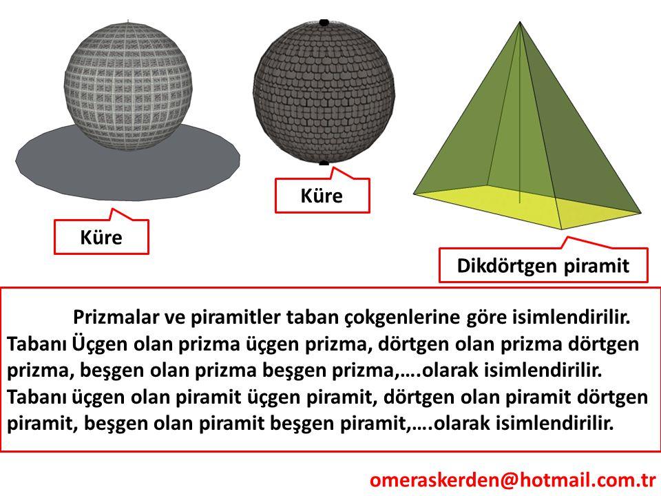 omeraskerden@hotmail.com.tr Küre Dikdörtgen piramit Küre Prizmalar ve piramitler taban çokgenlerine göre isimlendirilir. Tabanı Üçgen olan prizma üçge