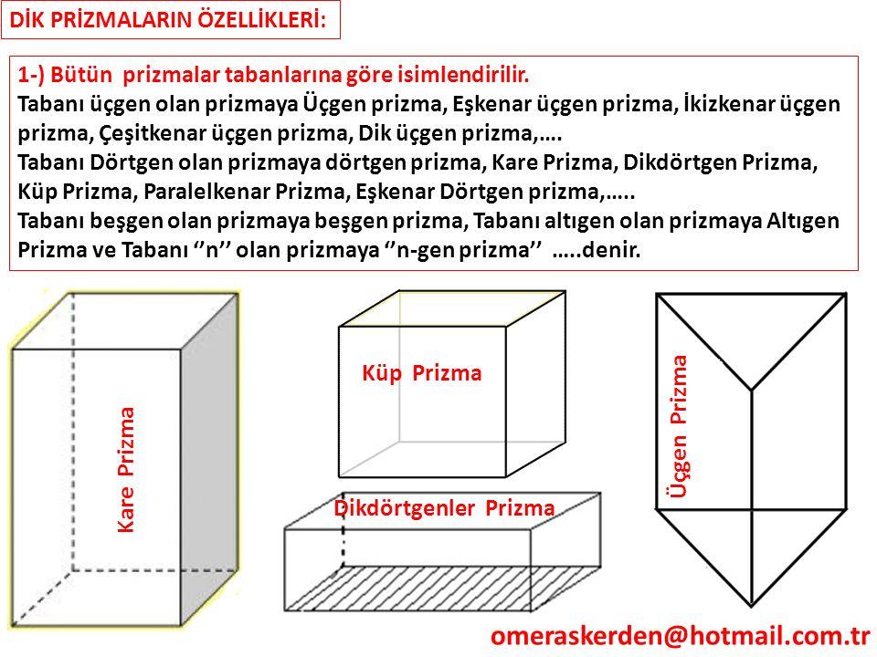DİK PRİZMALARIN ÖZELLİKLERİ: 1-) Bütün prizmalar tabanlarına göre isimlendirilir. Tabanı üçgen olan prizmaya Üçgen prizma, Eşkenar üçgen prizma, İkizk