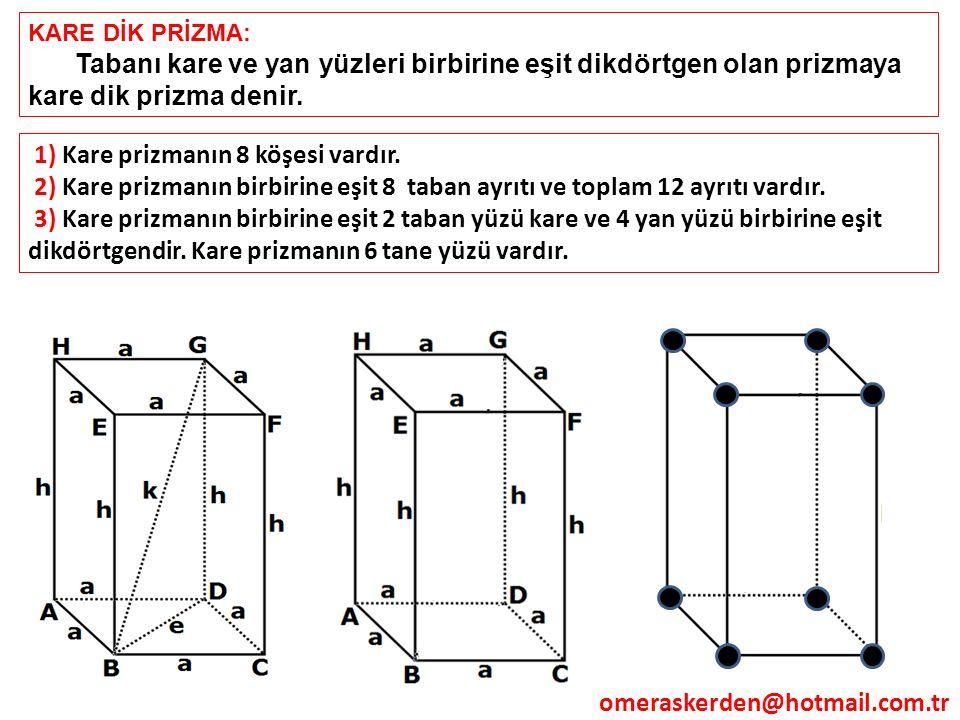 KARE DİK PRİZMA: Tabanı kare ve yan yüzleri birbirine eşit dikdörtgen olan prizmaya kare dik prizma denir. 1) Kare prizmanın 8 köşesi vardır. 2) Kare