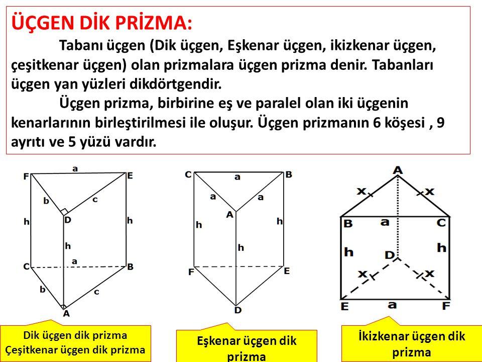 ÜÇGEN DİK PRİZMA: Tabanı üçgen (Dik üçgen, Eşkenar üçgen, ikizkenar üçgen, çeşitkenar üçgen) olan prizmalara üçgen prizma denir. Tabanları üçgen yan y