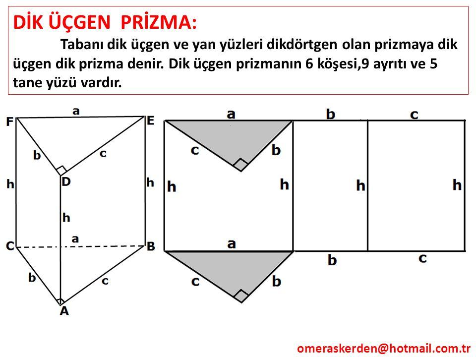 DİK ÜÇGEN PRİZMA: Tabanı dik üçgen ve yan yüzleri dikdörtgen olan prizmaya dik üçgen dik prizma denir. Dik üçgen prizmanın 6 köşesi,9 ayrıtı ve 5 tane