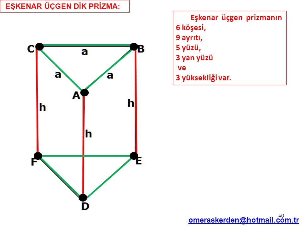 46 EŞKENAR ÜÇGEN DİK PRİZMA: omeraskerden@hotmail.com.tr Eşkenar üçgen prizmanın 6 köşesi, 9 ayrıtı, 5 yüzü, 3 yan yüzü ve 3 yüksekliği var.