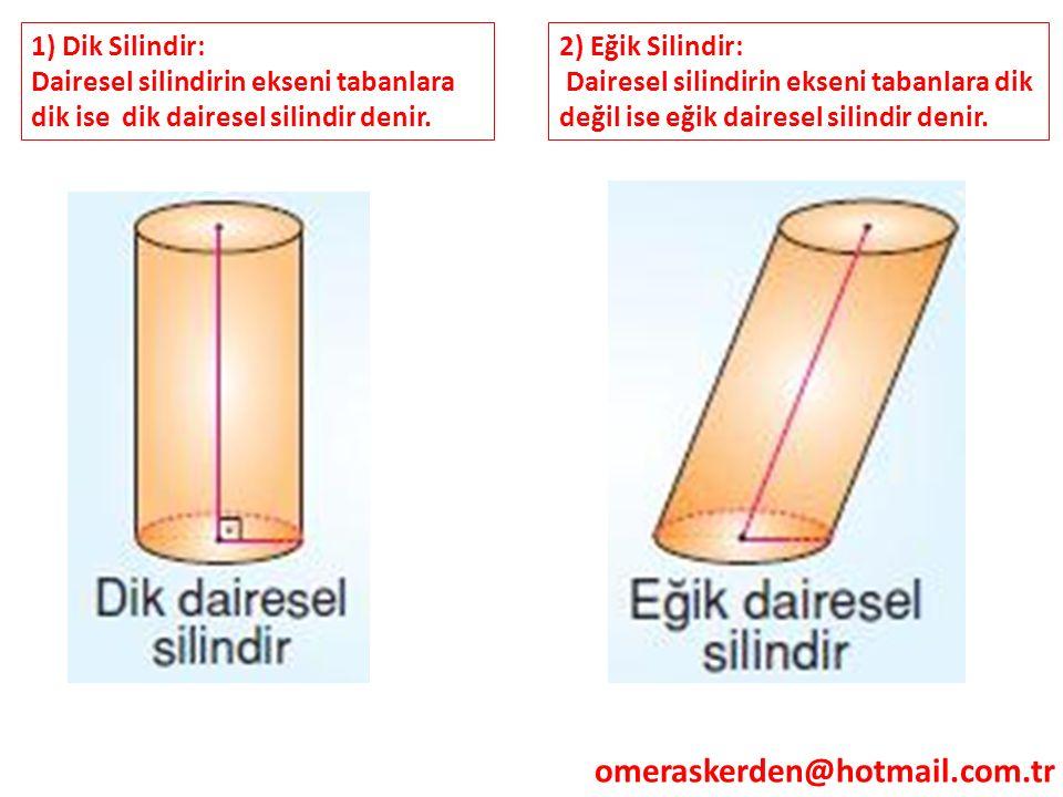 omeraskerden@hotmail.com.tr 1) Dik Silindir: Dairesel silindirin ekseni tabanlara dik ise dik dairesel silindir denir. 2) Eğik Silindir: Dairesel sili