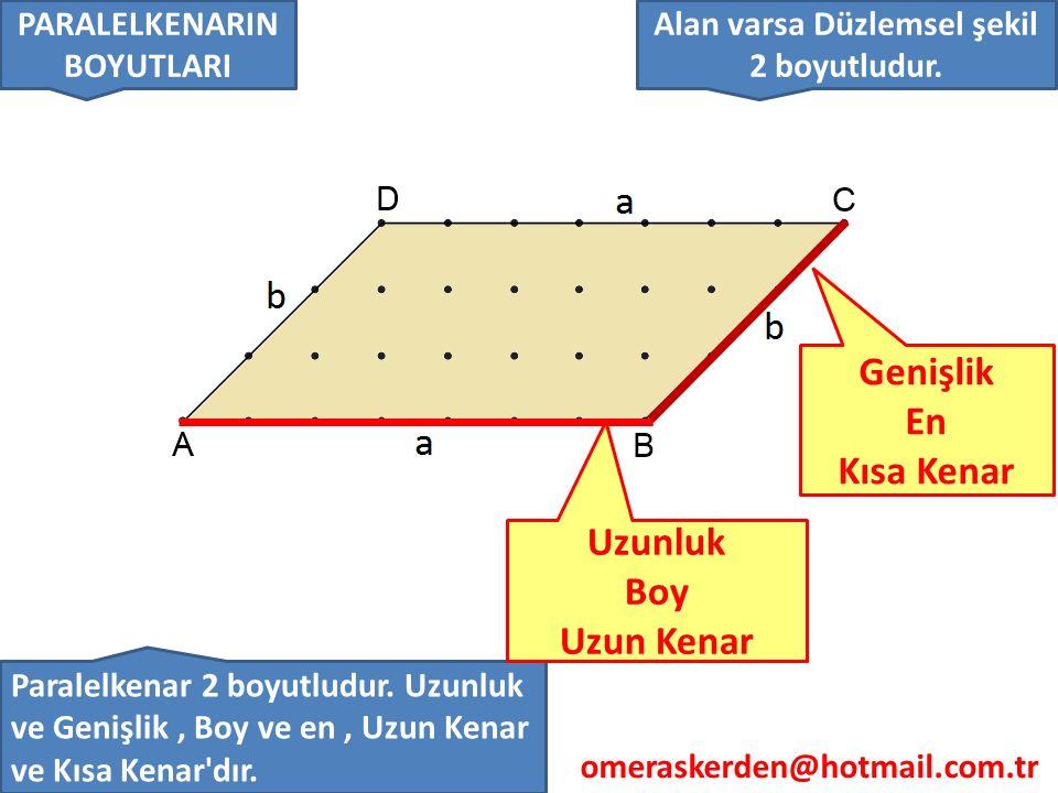 omeraskerden@hotmail.com.tr 4-) Bir dik prizmanın eni boyu ve yüksekliğine dik prizmanın boyutları veya ayrıtları denir.