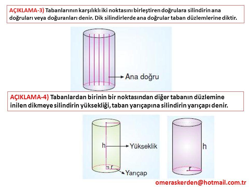 omeraskerden@hotmail.com.tr AÇIKLAMA-3) Tabanlarının karşılıklı iki noktasını birleştiren doğrulara silindirin ana doğruları veya doğuranları denir. D