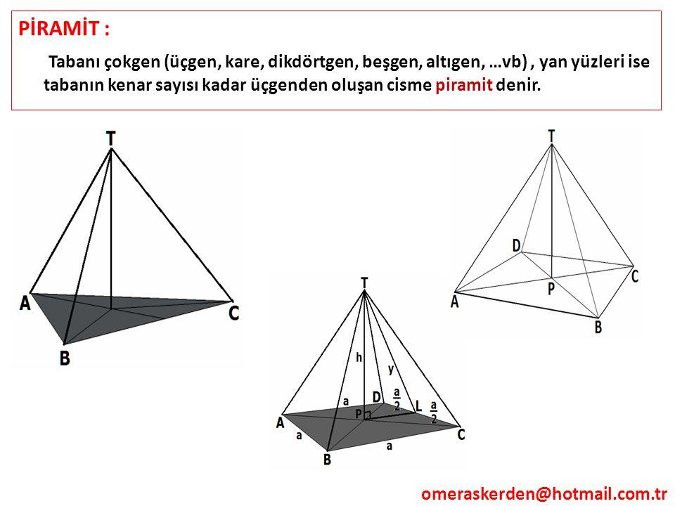 PİRAMİT : Tabanı çokgen (üçgen, kare, dikdörtgen, beşgen, altıgen, …vb), yan yüzleri ise tabanın kenar sayısı kadar üçgenden oluşan cisme piramit deni