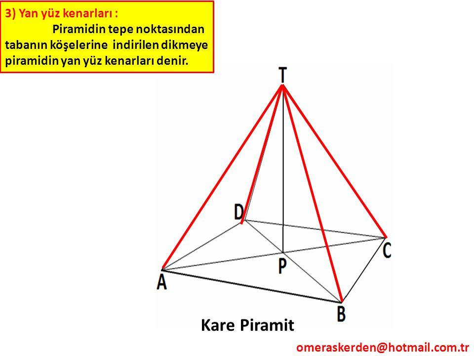 3) Yan yüz kenarları : Piramidin tepe noktasından tabanın köşelerine indirilen dikmeye piramidin yan yüz kenarları denir. Kare Piramit omeraskerden@ho