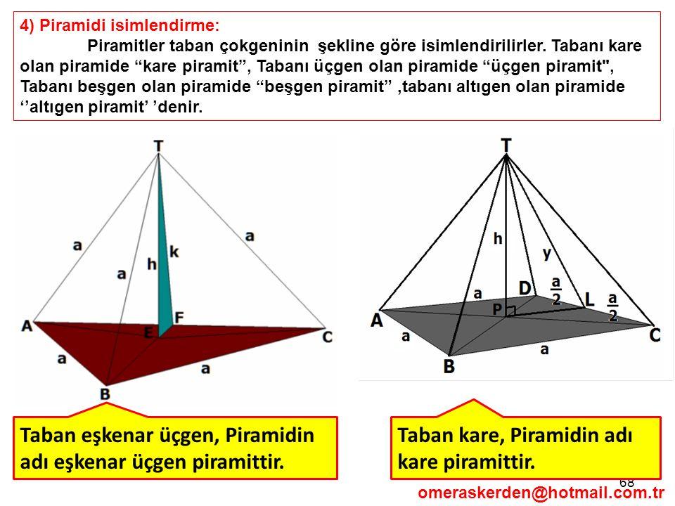 """68 4) Piramidi isimlendirme: Piramitler taban çokgeninin şekline göre isimlendirilirler. Tabanı kare olan piramide """"kare piramit"""", Tabanı üçgen olan p"""