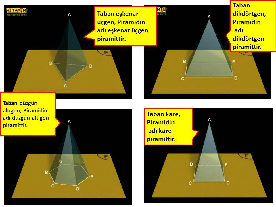 70 Taban kare, Piramidin adı kare piramittir. Taban eşkenar üçgen, Piramidin adı eşkenar üçgen piramittir. Taban dikdörtgen, Piramidin adı dikdörtgen