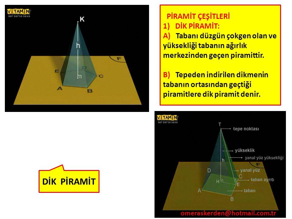 72 DİK PİRAMİT PİRAMİT ÇEŞİTLERİ 1) DİK PİRAMİT: A) Tabanı düzgün çokgen olan ve yüksekliği tabanın ağırlık merkezinden geçen piramittir. B) Tepeden i