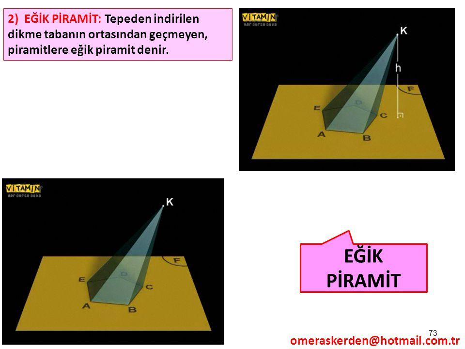 73 EĞİK PİRAMİT 2) EĞİK PİRAMİT: Tepeden indirilen dikme tabanın ortasından geçmeyen, piramitlere eğik piramit denir. omeraskerden@hotmail.com.tr