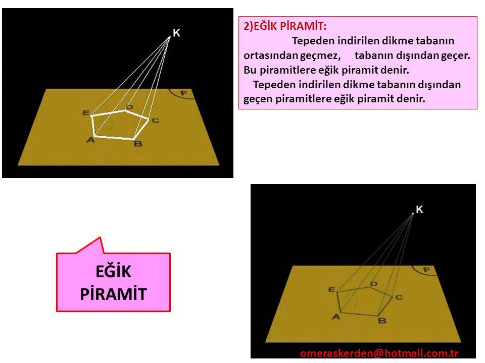 74 2)EĞİK PİRAMİT: Tepeden indirilen dikme tabanın ortasından geçmez, tabanın dışından geçer. Bu piramitlere eğik piramit denir. Tepeden indirilen dik