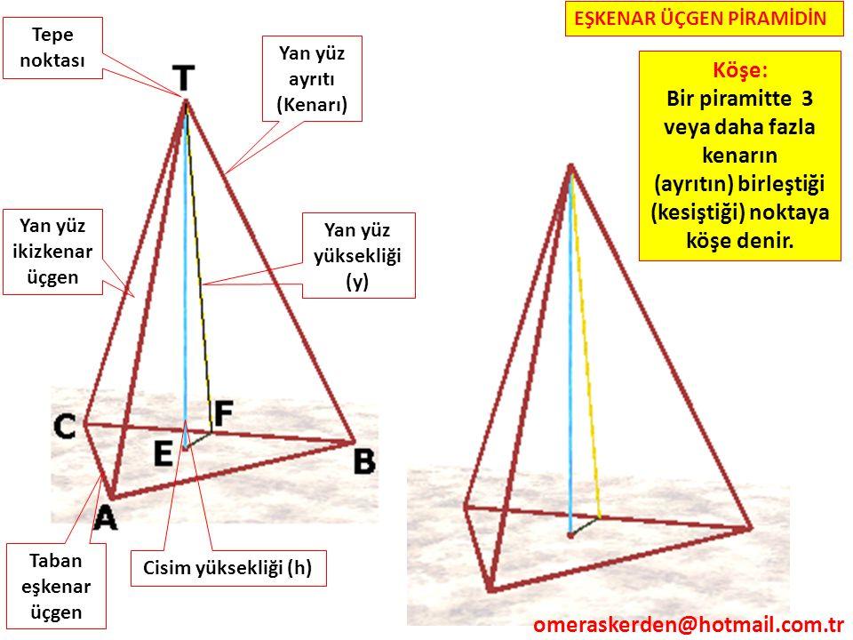 Yan yüz ikizkenar üçgen Tepe noktası Taban eşkenar üçgen Cisim yüksekliği (h) Yan yüz yüksekliği (y) Yan yüz ayrıtı (Kenarı) EŞKENAR ÜÇGEN PİRAMİDİN K