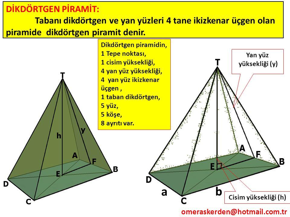 DİKDÖRTGEN PİRAMİT: Tabanı dikdörtgen ve yan yüzleri 4 tane ikizkenar üçgen olan piramide dikdörtgen piramit denir. Cisim yüksekliği (h) Yan yüz yükse