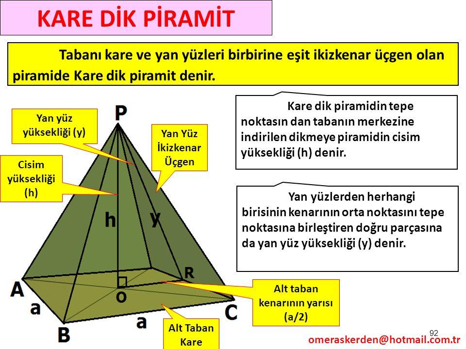 92 Tabanı kare ve yan yüzleri birbirine eşit ikizkenar üçgen olan piramide Kare dik piramit denir. Kare dik piramidin tepe noktasın dan tabanın merkez