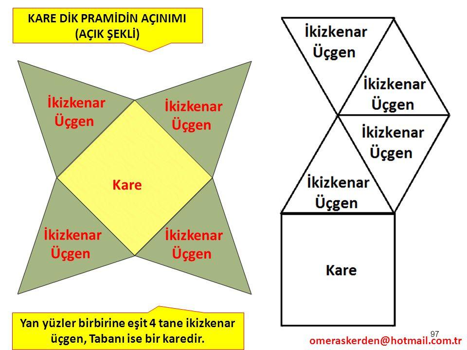 97 KARE DİK PRAMİDİN AÇINIMI (AÇIK ŞEKLİ) Yan yüzler birbirine eşit 4 tane ikizkenar üçgen, Tabanı ise bir karedir. omeraskerden@hotmail.com.tr Kare İ