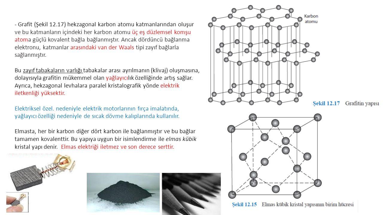 - Grafit (Şekil 12.17) hekzagonal karbon atomu katmanlarından oluşur ve bu katmanların içindeki her karbon atomu üç eş düzlemsel komşu atoma güçlü kovalent bağla bağlanmıştır.