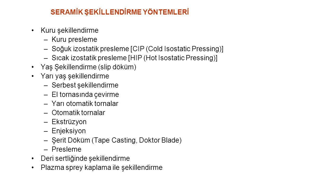 SERAMİK ŞEKİLLENDİRME YÖNTEMLERİ Kuru şekillendirme –Kuru presleme –Soğuk izostatik presleme [CIP (Cold Isostatic Pressing)] –Sıcak izostatik presleme [HIP (Hot Isostatic Pressing)] Yaş Şekillendirme (slip döküm) Yarı yaş şekillendirme –Serbest şekillendirme –El tornasında çevirme –Yarı otomatik tornalar –Otomatik tornalar –Ekstrüzyon –Enjeksiyon –Şerit Döküm (Tape Casting, Doktor Blade) –Presleme Deri sertliğinde şekillendirme Plazma sprey kaplama ile şekillendirme