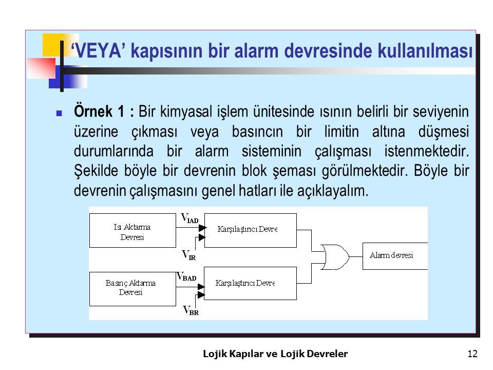 'VEYA' kapısının bir alarm devresinde kullanılması Örnek 1 : Bir kimyasal işlem ünitesinde ısının belirli bir seviyenin üzerine çıkması veya basıncın