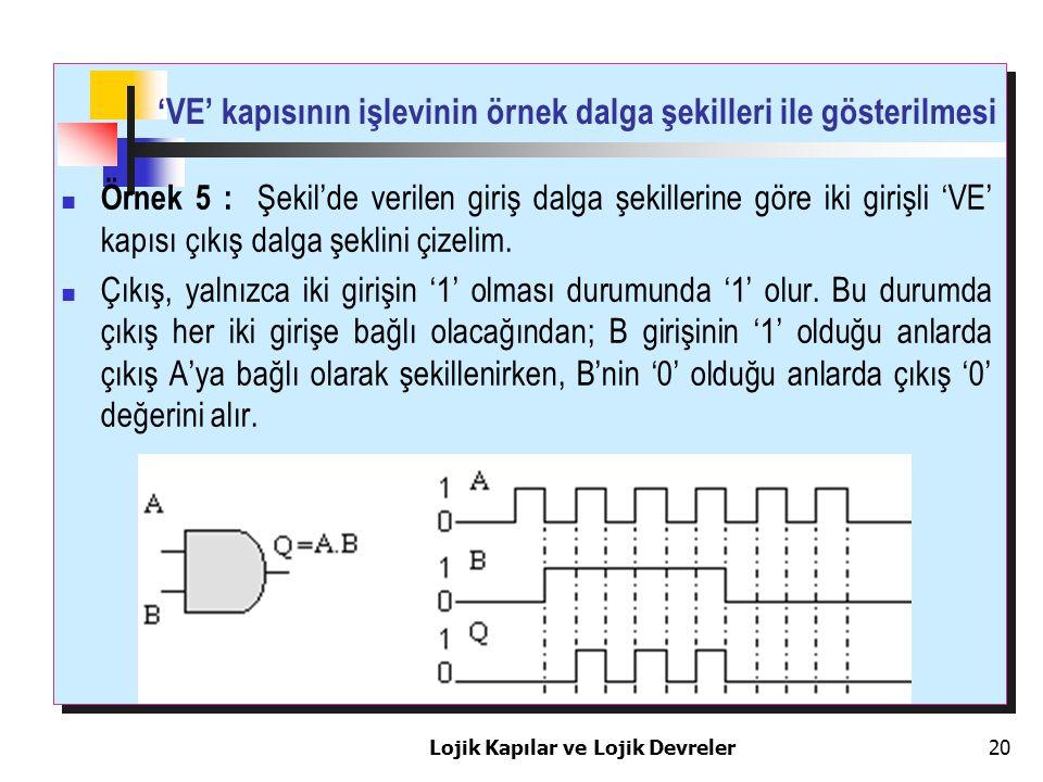 'VE' kapısının işlevinin örnek dalga şekilleri ile gösterilmesi Lojik Kapılar ve Lojik Devreler20 Örnek 5 : Şekil'de verilen giriş dalga şekillerine g