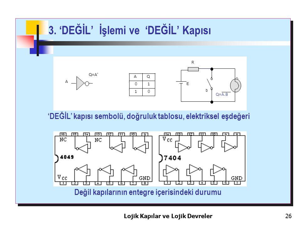 3. 'DEĞİL' İşlemi ve 'DEĞİL' Kapısı Lojik Kapılar ve Lojik Devreler26 Q Q=A' A AQ 0 1 1 0 Q=A.B E b R 'DEĞİL' kapısı sembolü, doğruluk tablosu, elektr