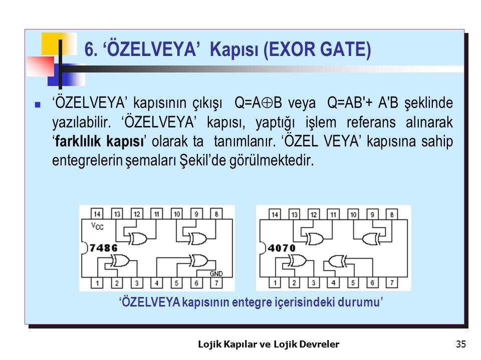 Lojik Kapılar ve Lojik Devreler35 6. 'ÖZELVEYA' Kapısı (EXOR GATE) 'ÖZELVEYA' kapısının çıkışı Q=A  B veya Q=AB'+ A'B şeklinde yazılabilir. 'ÖZELVEYA