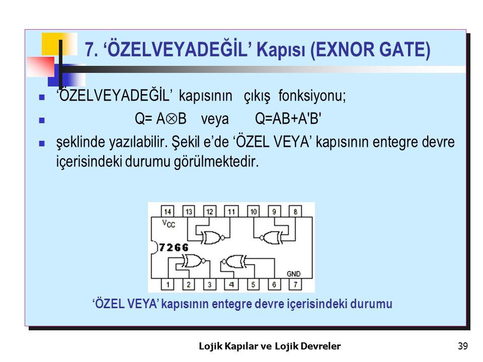 Lojik Kapılar ve Lojik Devreler39 7. 'ÖZELVEYADEĞİL' Kapısı (EXNOR GATE) 'ÖZELVEYADEĞİL' kapısının çıkış fonksiyonu; Q= A  B veya Q=AB+A'B' şeklinde