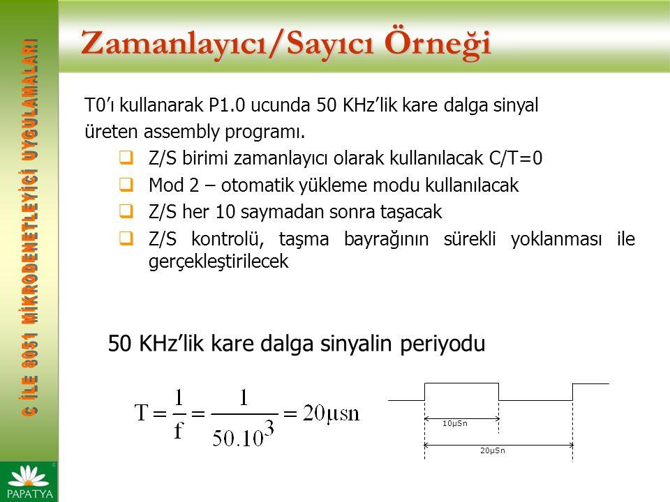 Zamanlayıcı/Sayıcı Örneği T0'ı kullanarak P1.0 ucunda 50 KHz'lik kare dalga sinyal üreten assembly programı.