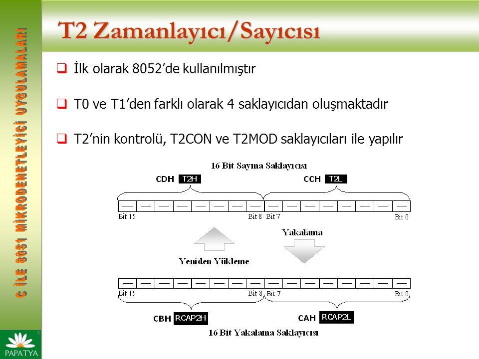 T2 Zamanlayıcı/Sayıcısı  İlk olarak 8052'de kullanılmıştır  T0 ve T1'den farklı olarak 4 saklayıcıdan oluşmaktadır  T2'nin kontrolü, T2CON ve T2MOD saklayıcıları ile yapılır