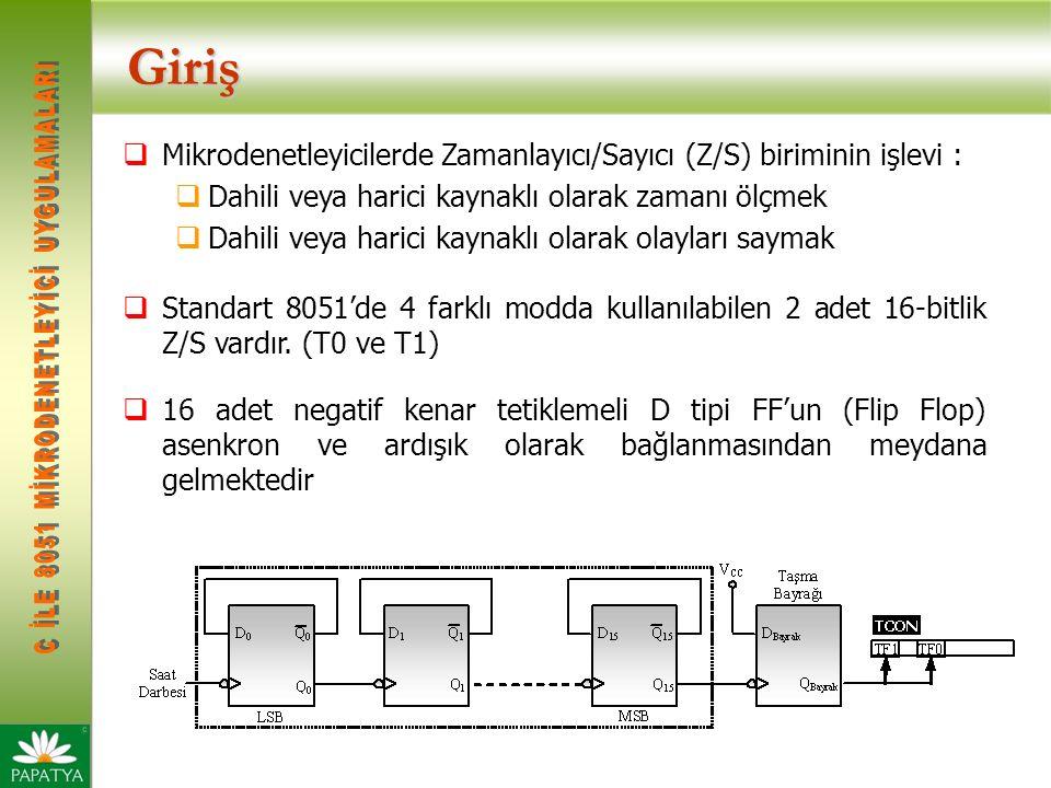 Giriş  Mikrodenetleyicilerde Zamanlayıcı/Sayıcı (Z/S) biriminin işlevi :  Dahili veya harici kaynaklı olarak zamanı ölçmek  Dahili veya harici kaynaklı olarak olayları saymak  Standart 8051'de 4 farklı modda kullanılabilen 2 adet 16-bitlik Z/S vardır.