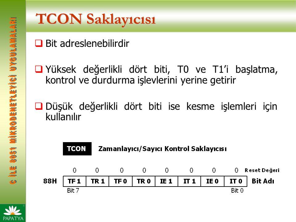 TCON Saklayıcısı  Bit adreslenebilirdir  Yüksek değerlikli dört biti, T0 ve T1'i başlatma, kontrol ve durdurma işlevlerini yerine getirir  Düşük değerlikli dört biti ise kesme işlemleri için kullanılır