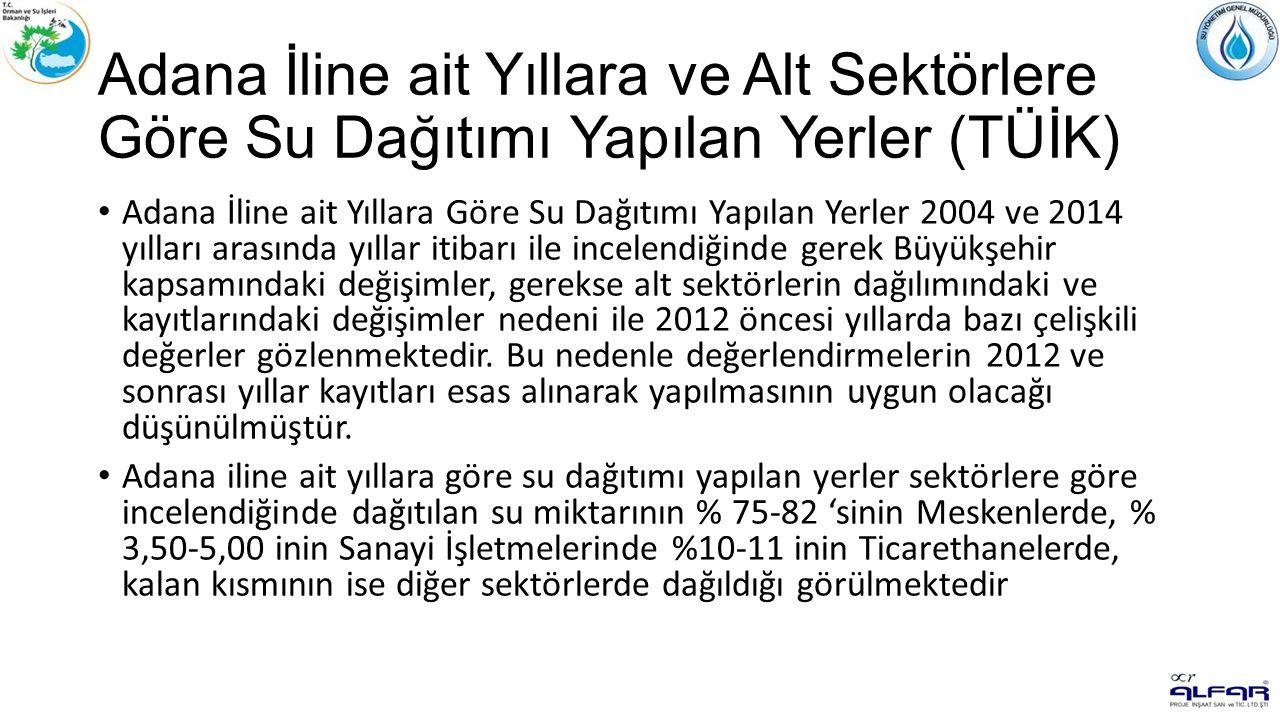 Adana İline ait Yıllara ve Alt Sektörlere Göre Su Dağıtımı Yapılan Yerler (TÜİK) Adana İline ait Yıllara Göre Su Dağıtımı Yapılan Yerler 2004 ve 2014 yılları arasında yıllar itibarı ile incelendiğinde gerek Büyükşehir kapsamındaki değişimler, gerekse alt sektörlerin dağılımındaki ve kayıtlarındaki değişimler nedeni ile 2012 öncesi yıllarda bazı çelişkili değerler gözlenmektedir.