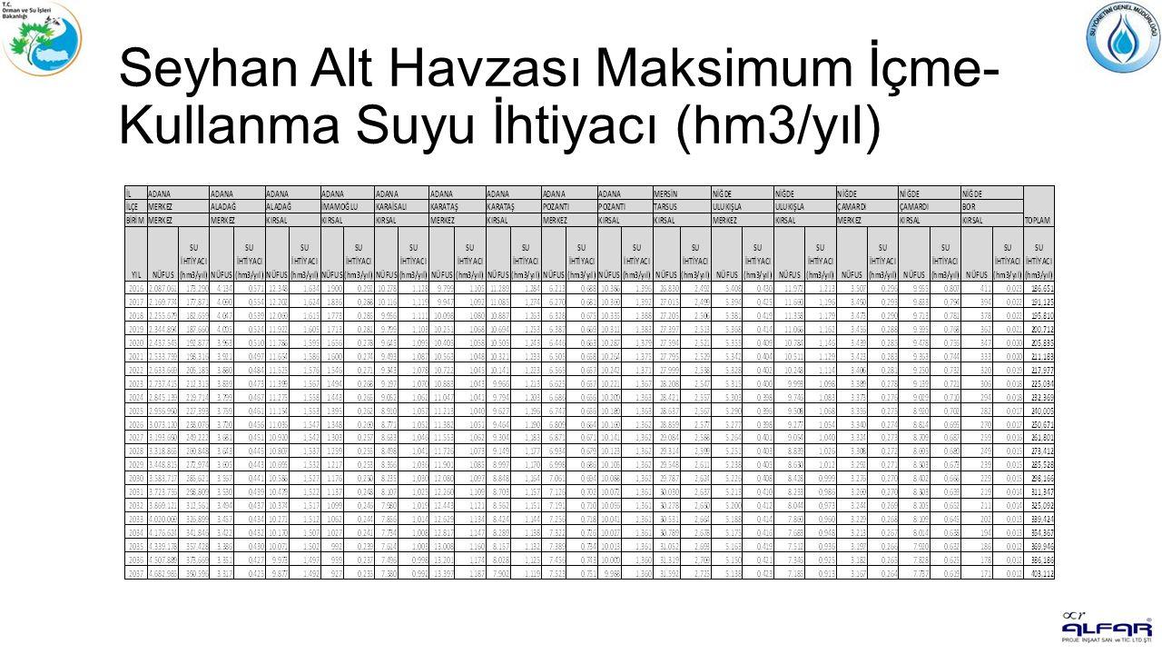 Seyhan Alt Havzası Maksimum İçme- Kullanma Suyu İhtiyacı (hm3/yıl)