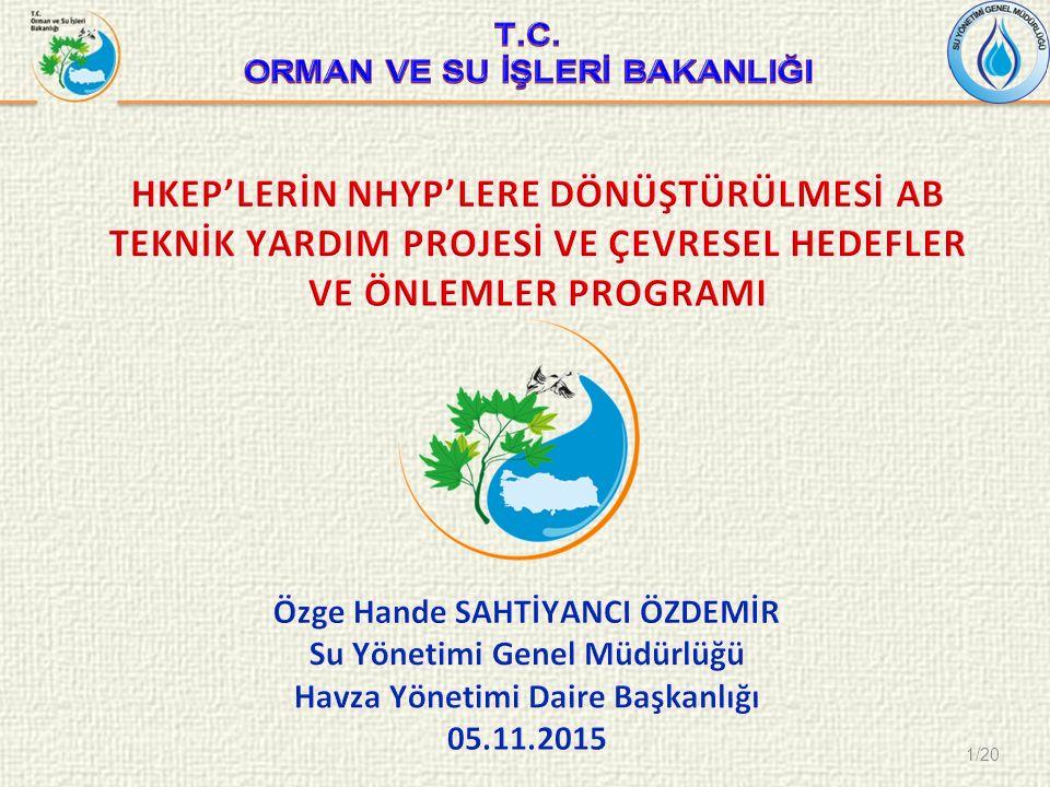 2/20  NHYP Projesine ilişkin Genel Bilgi  Su Çerçeve Direktifi Kapsamında Çevresel Hedeflerin Belirlenmesi  Su Çerçeve Direktifi Kapsamında Önlemler Programının Oluşturulması