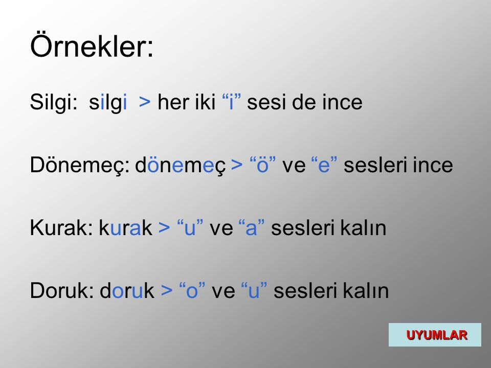 """Örnekler: Silgi: silgi > her iki """"i"""" sesi de ince Dönemeç: dönemeç > """"ö"""" ve """"e"""" sesleri ince Kurak: kurak > """"u"""" ve """"a"""" sesleri kalın Doruk: doruk > """"o"""