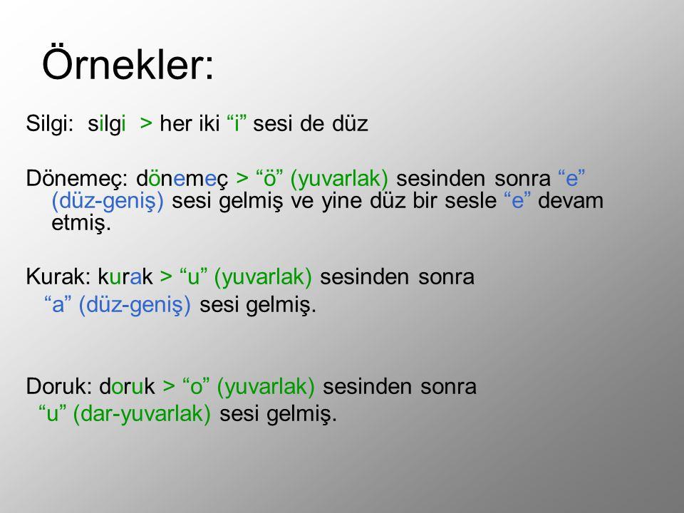 """Örnekler: Silgi: silgi > her iki """"i"""" sesi de düz Dönemeç: dönemeç > """"ö"""" (yuvarlak) sesinden sonra """"e"""" (düz-geniş) sesi gelmiş ve yine düz bir sesle """"e"""