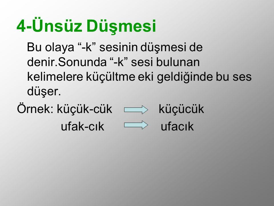 """4-Ünsüz Düşmesi Bu olaya """"-k"""" sesinin düşmesi de denir.Sonunda """"-k"""" sesi bulunan kelimelere küçültme eki geldiğinde bu ses düşer. Örnek: küçük-cük küç"""