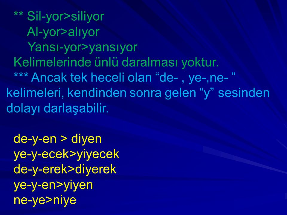 """** Sil-yor>siliyor Al-yor>alıyor Yansı-yor>yansıyor Kelimelerinde ünlü daralması yoktur. *** Ancak tek heceli olan """"de-, ye-,ne- """" kelimeleri, kendind"""