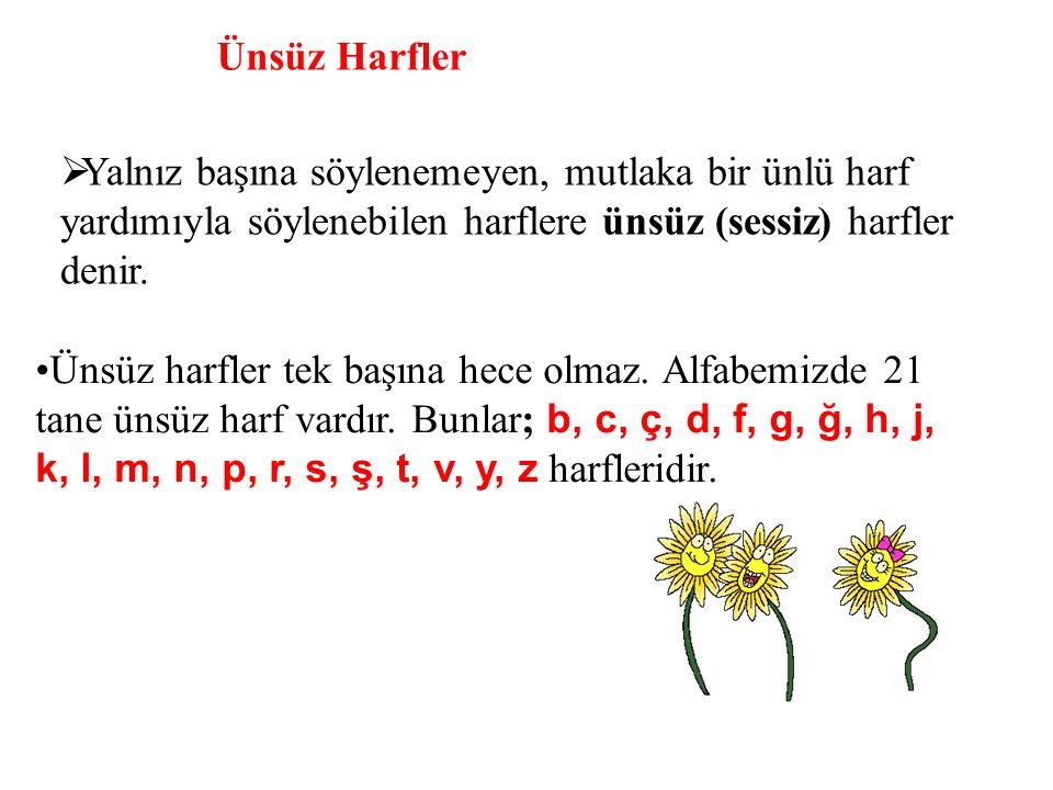 Ünsüz Harfler  Yalnız başına söylenemeyen, mutlaka bir ünlü harf yardımıyla söylenebilen harflere ünsüz (sessiz) harfler denir. Ünsüz harfler tek baş