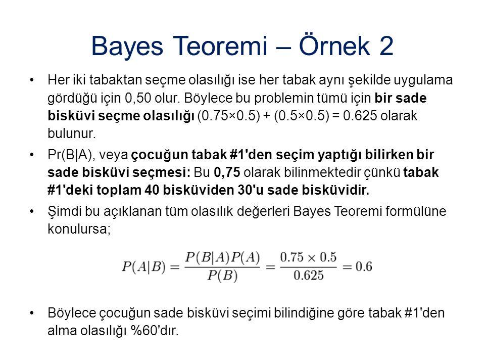 Bayes Teoremi – Örnek 2 Her iki tabaktan seçme olasılığı ise her tabak aynı şekilde uygulama gördüğü için 0,50 olur. Böylece bu problemin tümü için bi