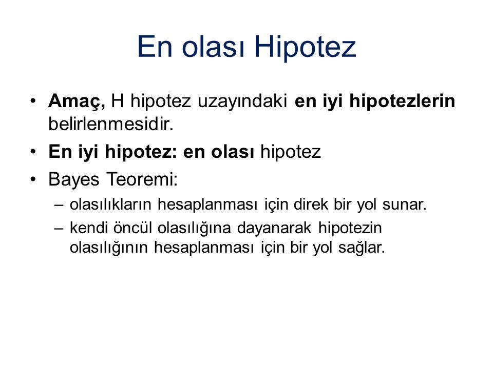 En olası Hipotez Amaç, H hipotez uzayındaki en iyi hipotezlerin belirlenmesidir. En iyi hipotez: en olası hipotez Bayes Teoremi: –olasılıkların hesapl