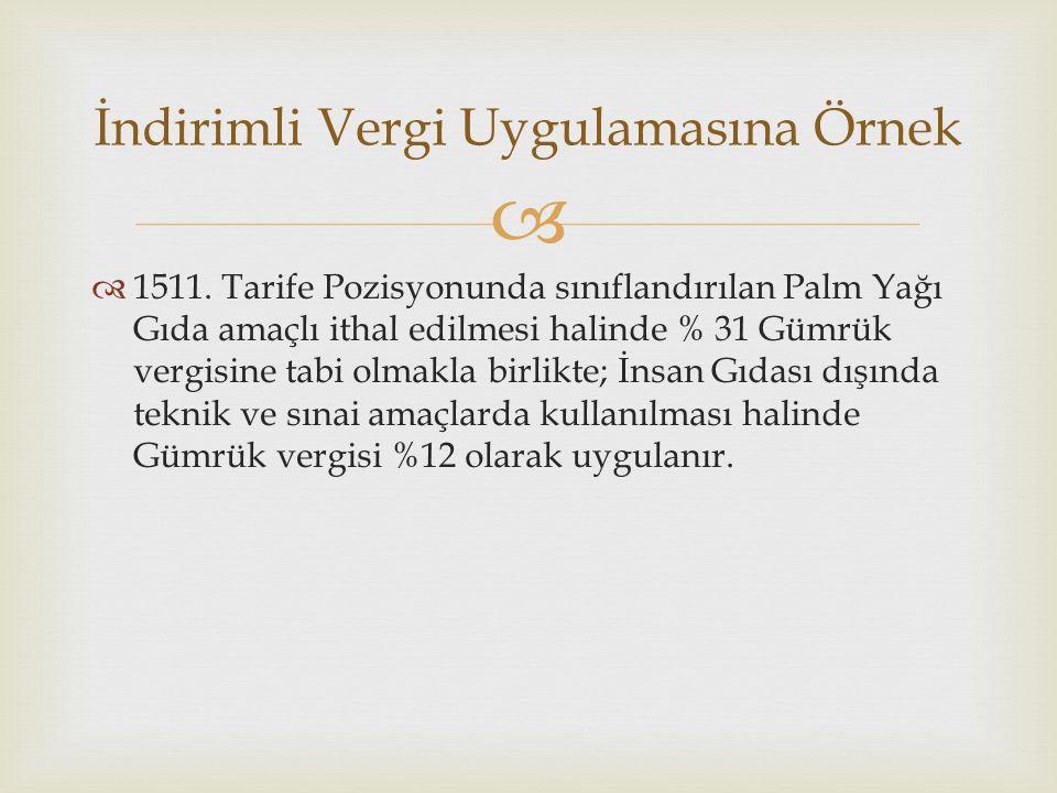  1511. Tarife Pozisyonunda sınıflandırılan Palm Yağı Gıda amaçlı ithal edilmesi halinde % 31 Gümrük vergisine tabi olmakla birlikte; İnsan Gıdası d