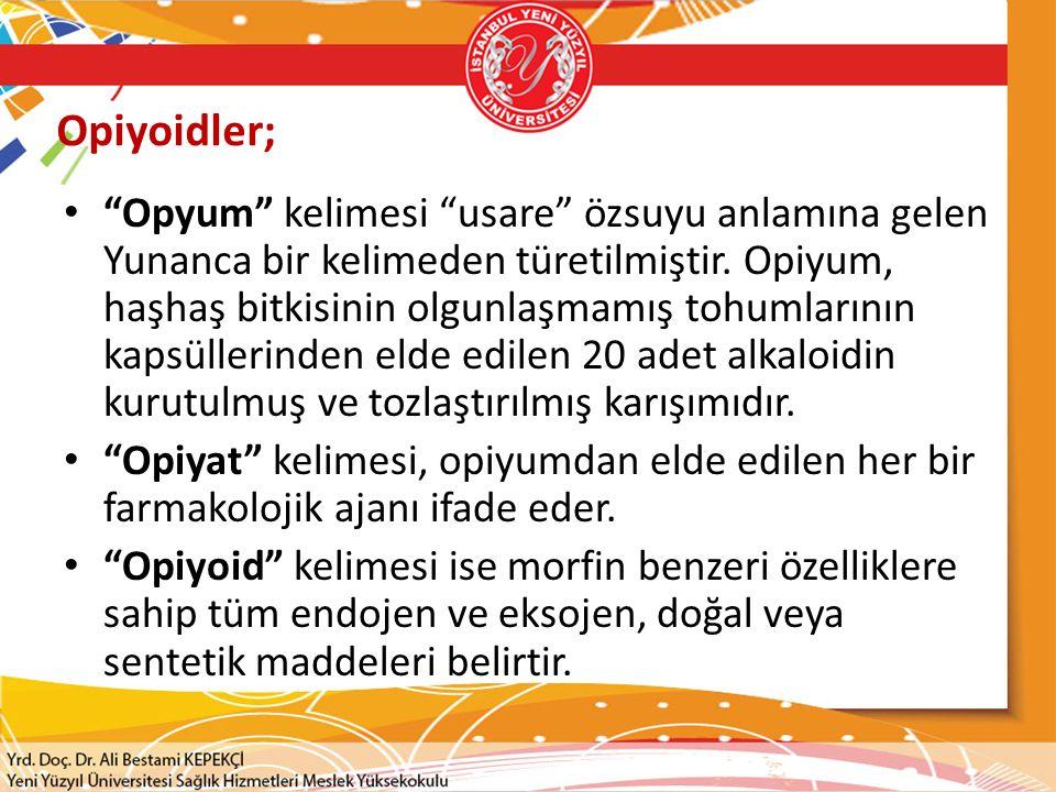 """Opiyoidler; """"Opyum"""" kelimesi """"usare"""" özsuyu anlamına gelen Yunanca bir kelimeden türetilmiştir. Opiyum, haşhaş bitkisinin olgunlaşmamış tohumlarının k"""