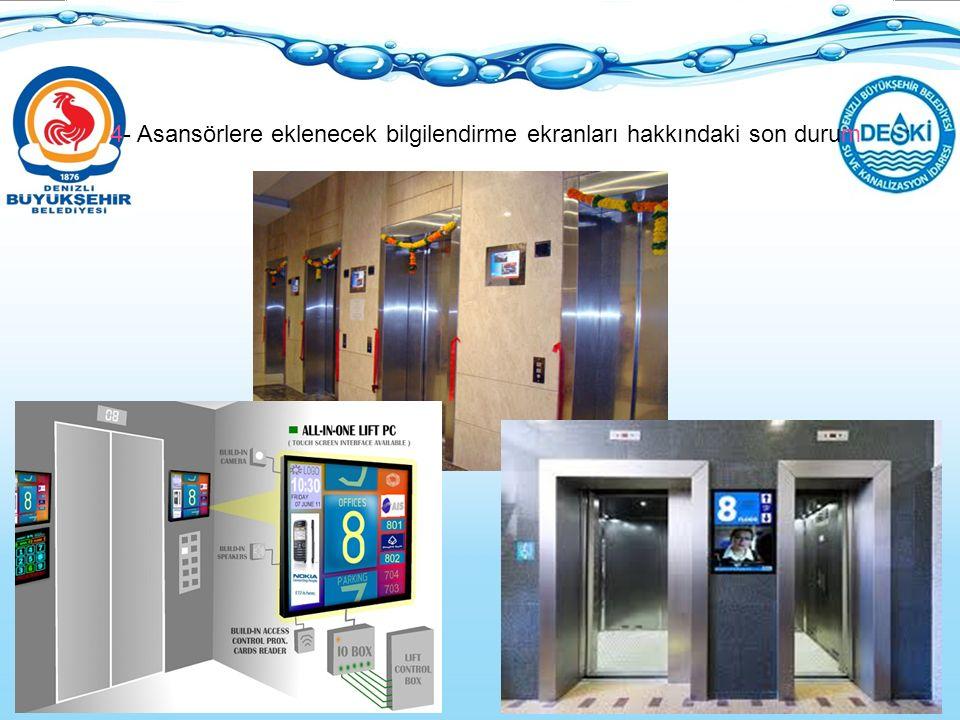 4- Asansörlere eklenecek bilgilendirme ekranları hakkındaki son durum