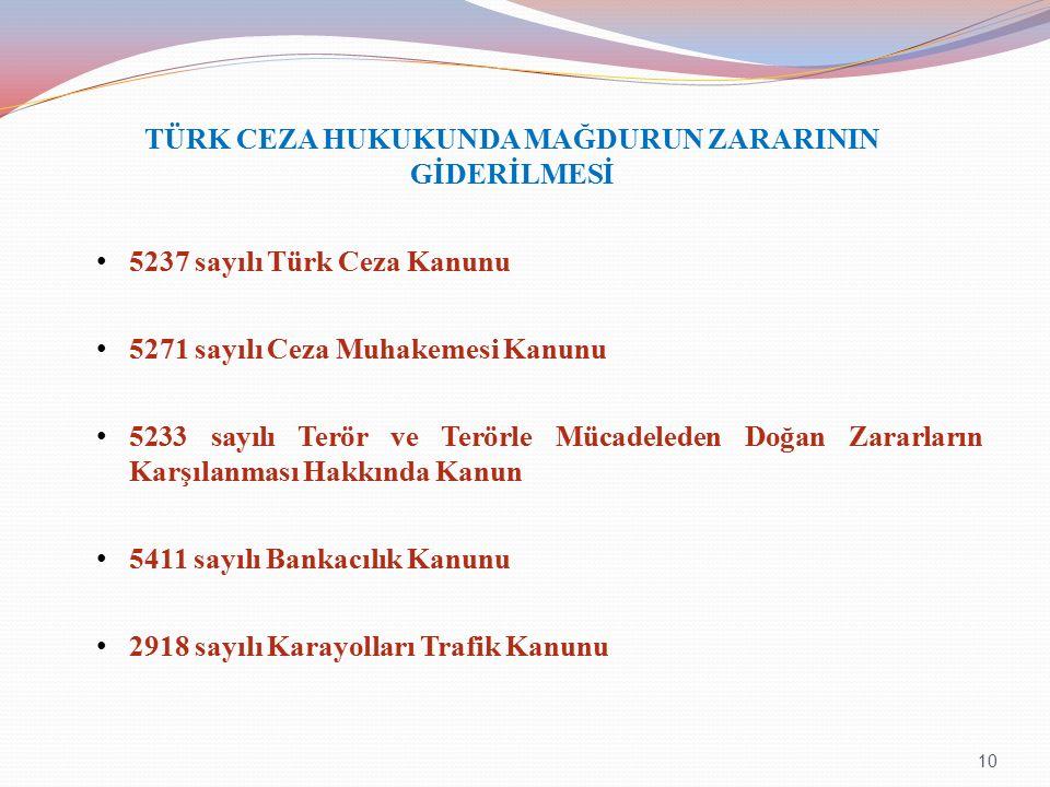 TÜRK CEZA HUKUKUNDA MAĞDURUN ZARARININ GİDERİLMESİ 5237 sayılı Türk Ceza Kanunu 5271 sayılı Ceza Muhakemesi Kanunu 5233 sayılı Terör ve Terörle Mücadeleden Doğan Zararların Karşılanması Hakkında Kanun 5411 sayılı Bankacılık Kanunu 2918 sayılı Karayolları Trafik Kanunu 10