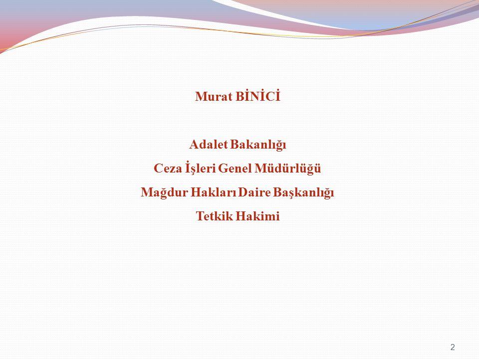 Murat BİNİCİ Adalet Bakanlığı Ceza İşleri Genel Müdürlüğü Mağdur Hakları Daire Başkanlığı Tetkik Hakimi 2