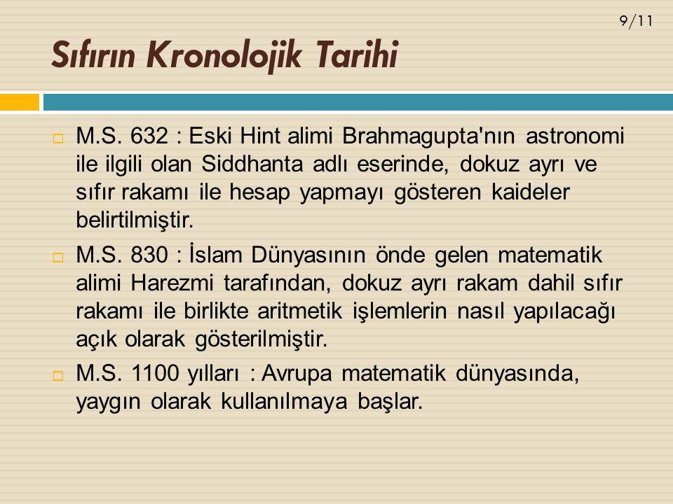 Sıfırın Kronolojik Tarihi  M.S. 632 : Eski Hint alimi Brahmagupta'nın astronomi ile ilgili olan Siddhanta adlı eserinde, dokuz ayrı ve sıfır rakamı i
